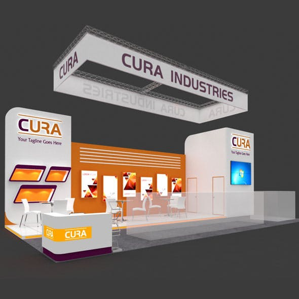 Exhibition Booth 3D Model - 12x6 mtr