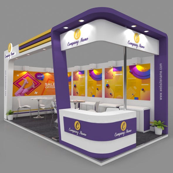 Exhibition Booth 3D Model - 6x3 mtr