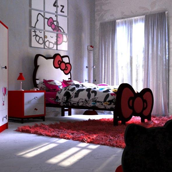 HELLO KITTY Bedroom Design - 3DOcean Item for Sale