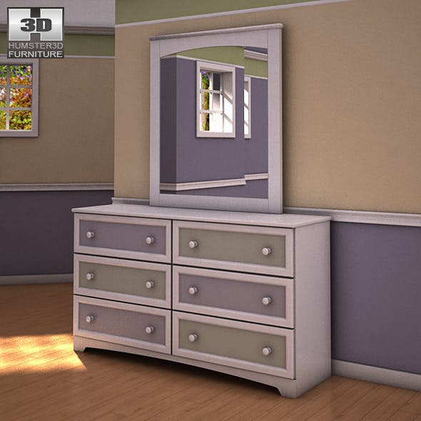 Ashley Sandhill Dresser & Mirror - 3DOcean Item for Sale