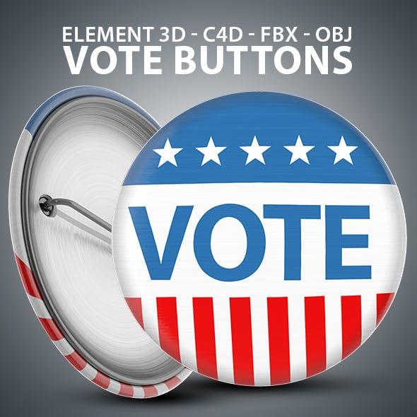 Vote Button 3D Model - Element 3D & Cinema 4D