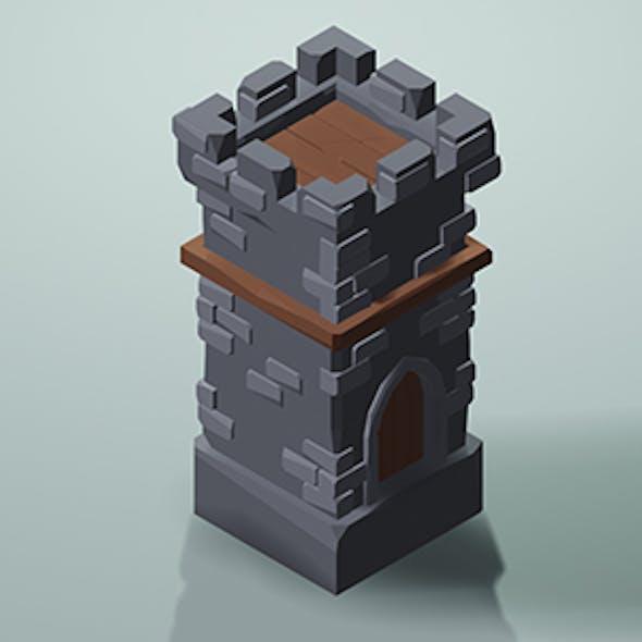 Low Poly Tower w/Camera & Lighting Scene