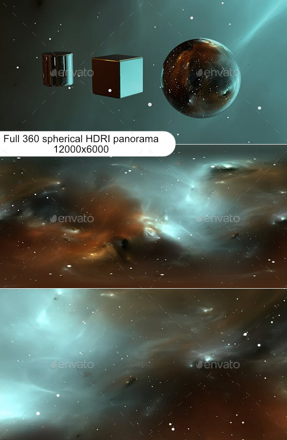 360 degree space background with nebula and stars, equirectangular projection, environment map. HDRI - 3DOcean Item for Sale