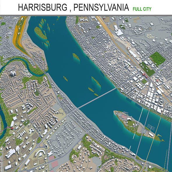 Harrisburg city Pennsylvania 3d model 40km