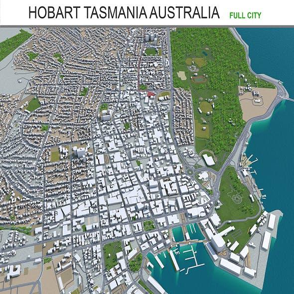 Hobart tasmania city Australia 3d model 60km