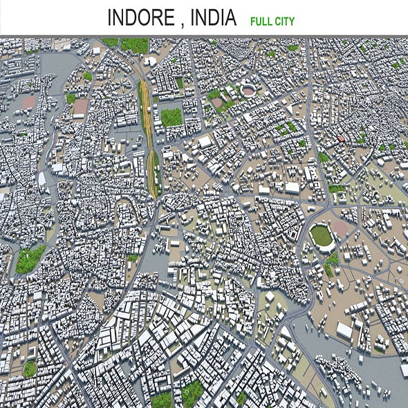 Indore city India 3d model 30km