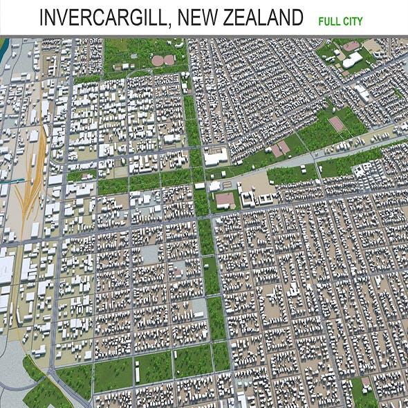 Invercargill city New Zealand 3d model 20km