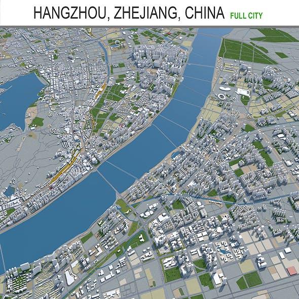 Hangzhou city Zhejiang China 3d model 250km