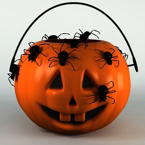 Halloween Pumpkin - Mini Plastic Basket - Anim Spiders