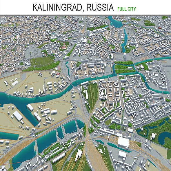 Kaliningrad city Russia 3d model 40km