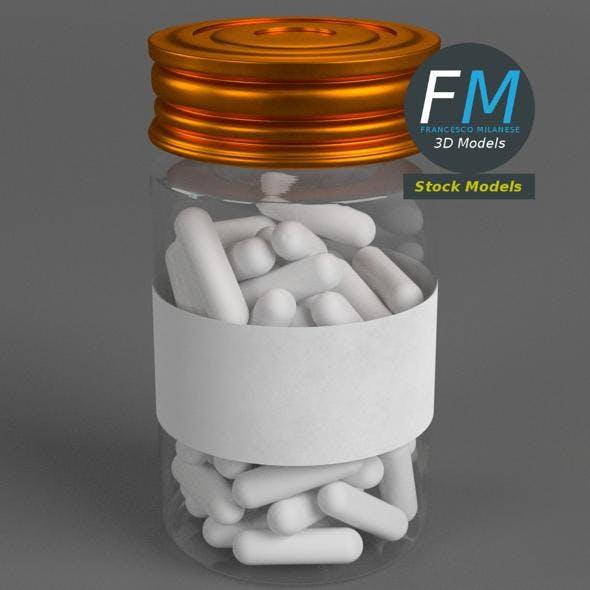 Pharma capsule pills and bottle