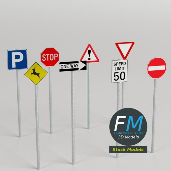 Traffic signs pack - 3DOcean Item for Sale