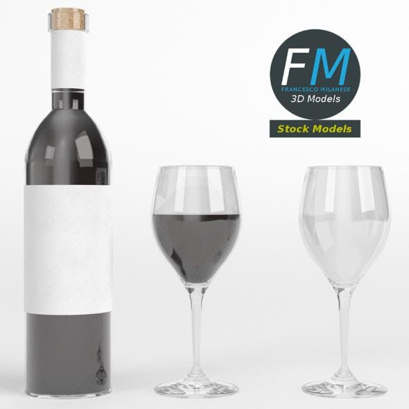 Wine bottle and glasses - 3DOcean Item for Sale