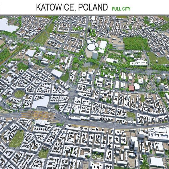 Katowice city Poland 3d model 60km