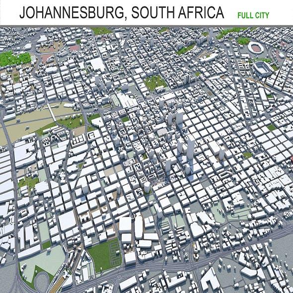 Johannesburg city South Africa 3d model 60km