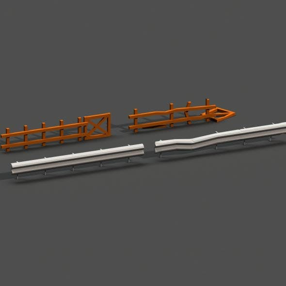 Post Apocalyptic Road Barrier and Wooden Fence - 3DOcean Item for Sale