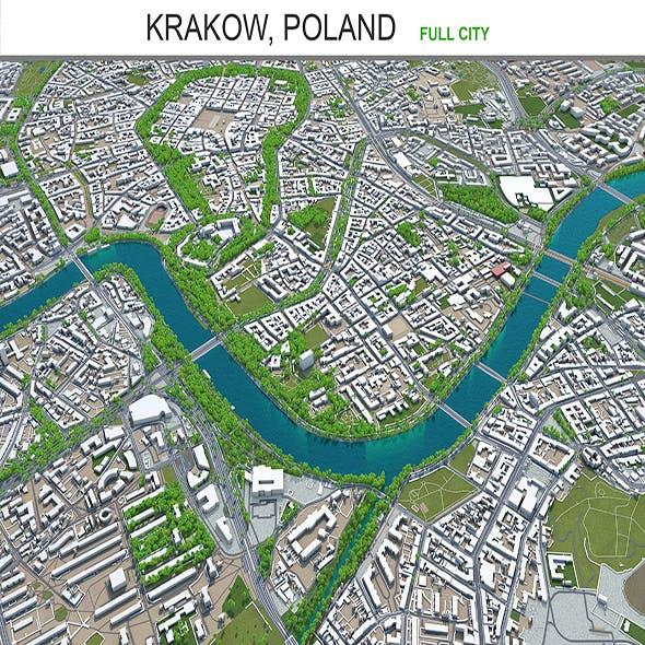 Krakow city Poland 3d model 70km