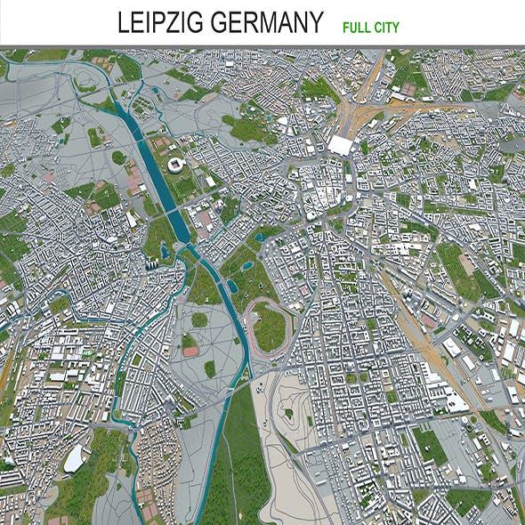 Leipzig city Germany 3d model 50km