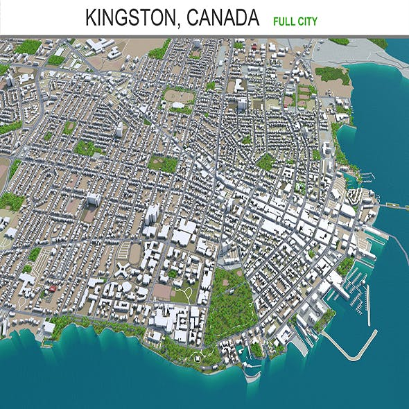 Kingston city Canada 3d model 50km