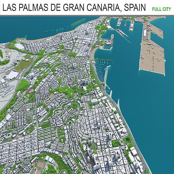 Las Palmas de Gran Canaria city Spain 3d model 40km