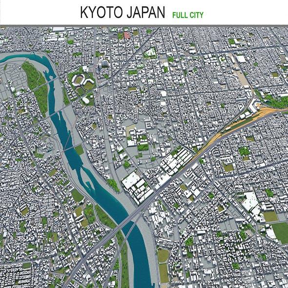 Kyoto city Japan 3d model 80km