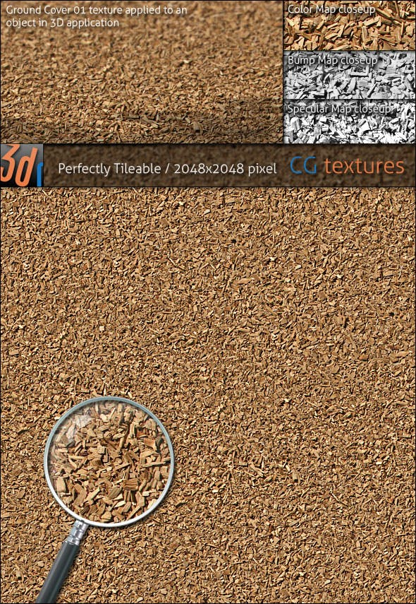 Ground Cover Hi-Res Texture 01 Walkway Wood Chip - 3DOcean Item for Sale