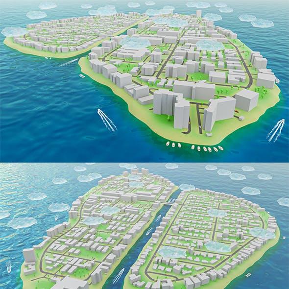 Miami - Bay Harbor Islands - Real Copy Low-poly 3D model