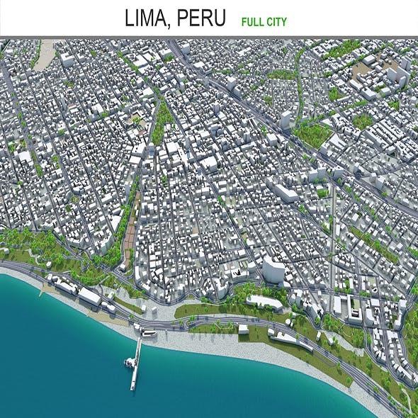 Lima city peru 3d model 80km