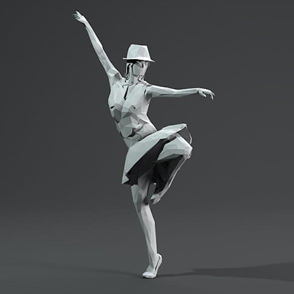 Woman Dancing Pose. Low Poly