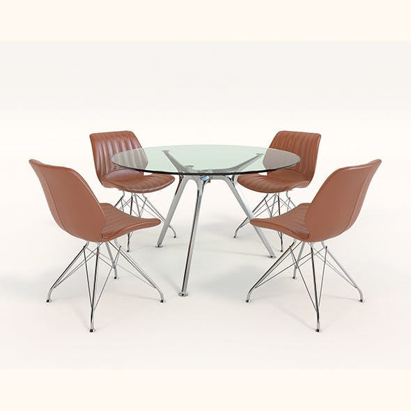 Contemporary Design Table and Chair Set 7 - 3DOcean Item for Sale