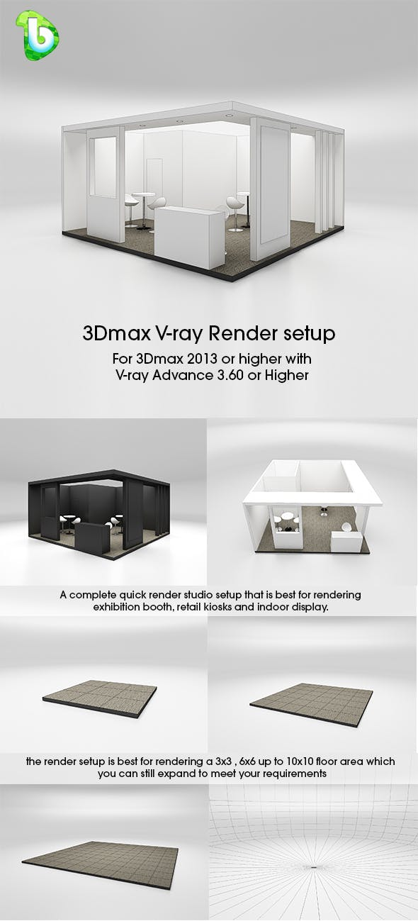 Exhibition Booth - Render Setup - 3Dmax & V-ray - 3DOcean Item for Sale