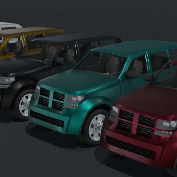 Generic Off-Road Car With Interior Lowpoly 3D Model