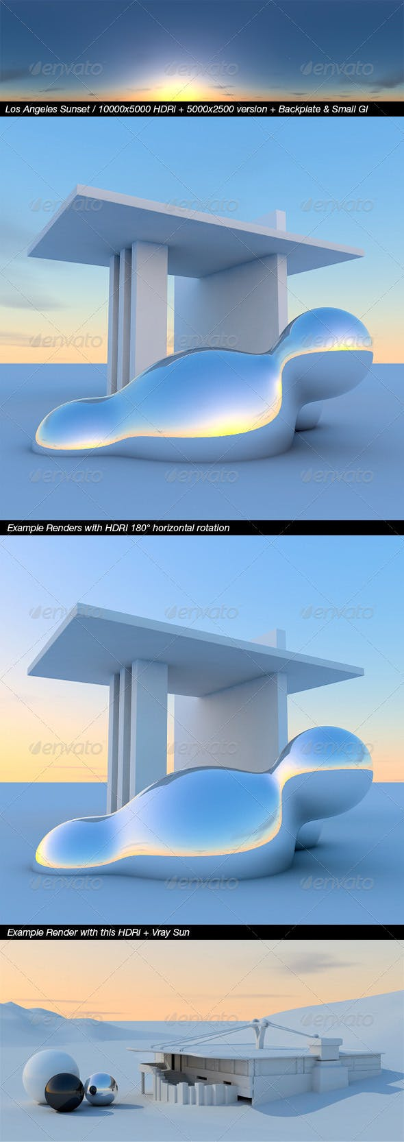 HDRi Los Angeles Sunset, 10000x5000+Backplates - 3DOcean Item for Sale