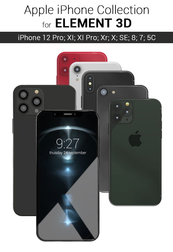 Element 3D - Apple Iphones Collection - 3DOcean Item for Sale