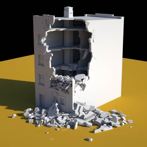 Damaged Building - 3DOcean Item for Sale