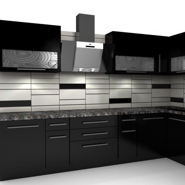 Modern black kitchen furniture - 3DOcean Item for Sale