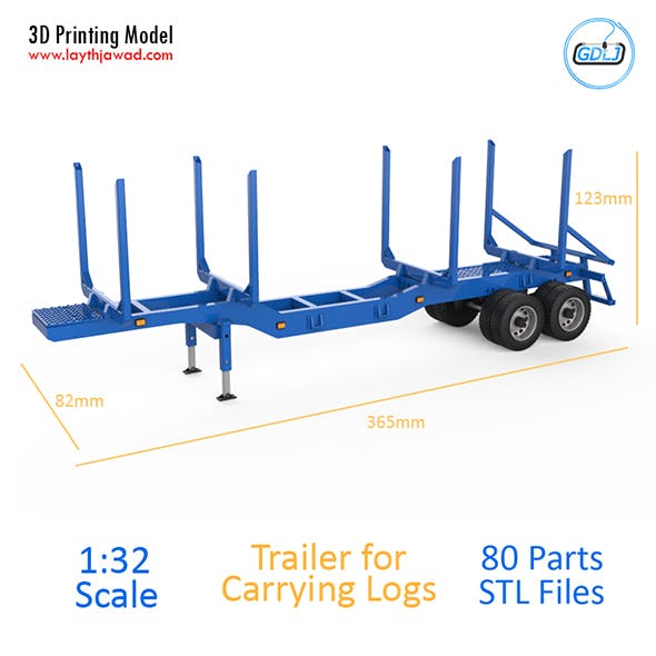 Trailer for Carrying Logs 3D Printing Model