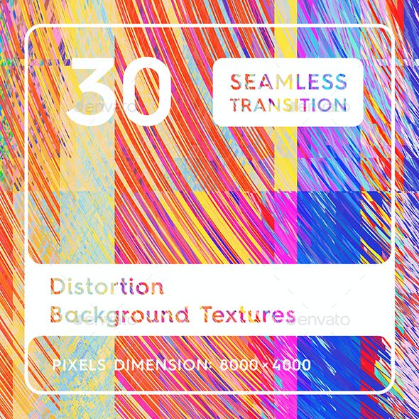 30 Distortion Background Textures. Seamless Transition.