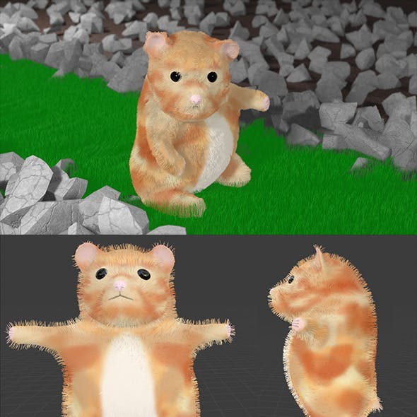 Hamster Bear Rigged Animal Character Game Ready