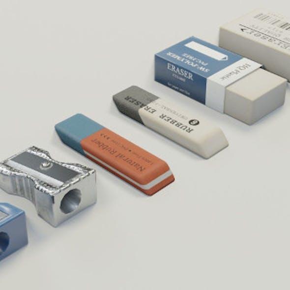 Eraser & Pencil Sharpener 3D Model