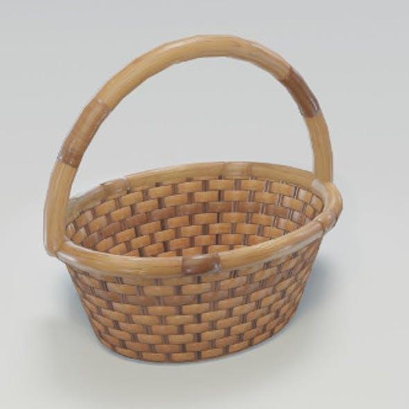Wooden Wicker Basket 3D Model