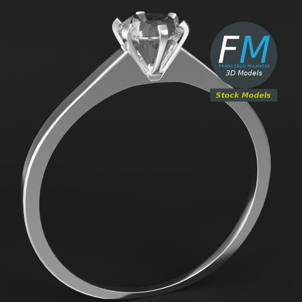 Diamond solitaire ring - 3DOcean Item for Sale