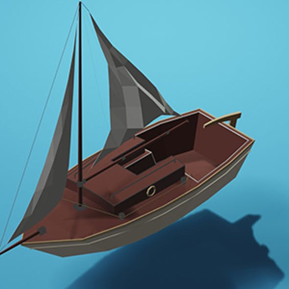Low Poly Sailing Boat w/Camera & Lighting Scene