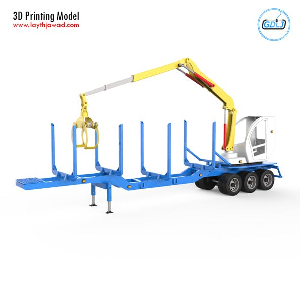 Trailer for Carrying Logs With crane 3D Printing Model - 3DOcean Item for Sale