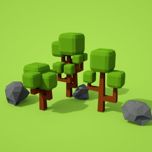 Lowpoly Trees and Rocks