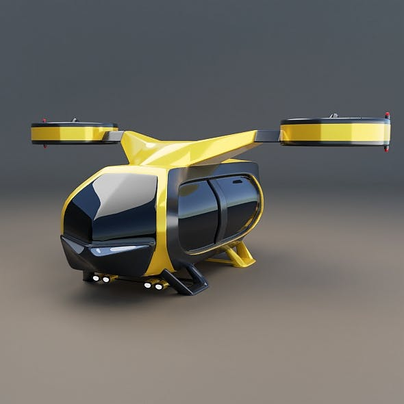 Flying taxi concept Lowpoly
