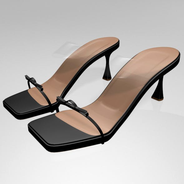 Clear Strap Square-Toe Spool-Heel Sandals 01 - 3DOcean Item for Sale