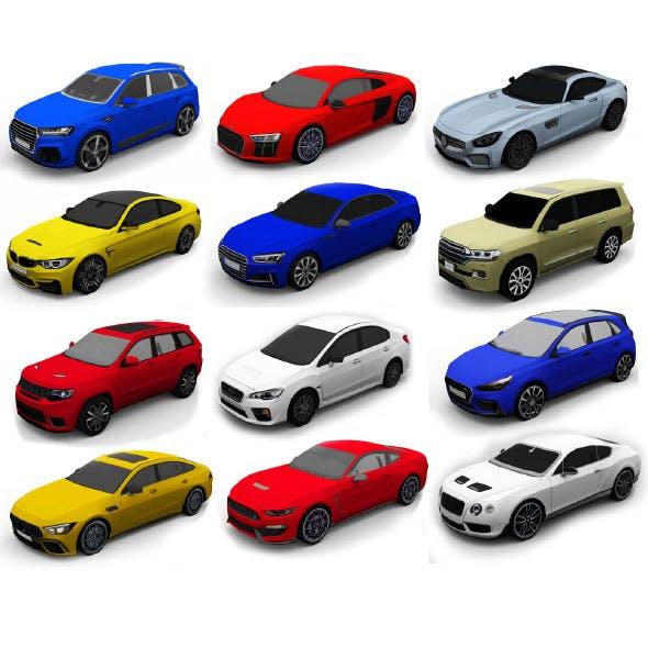 12 Cars Pack 3D Model