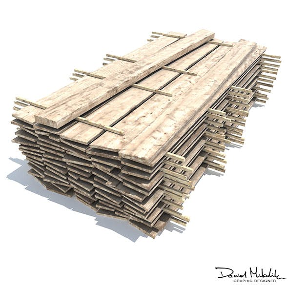 Wood Board Stock Low Poly - 3DOcean Item for Sale
