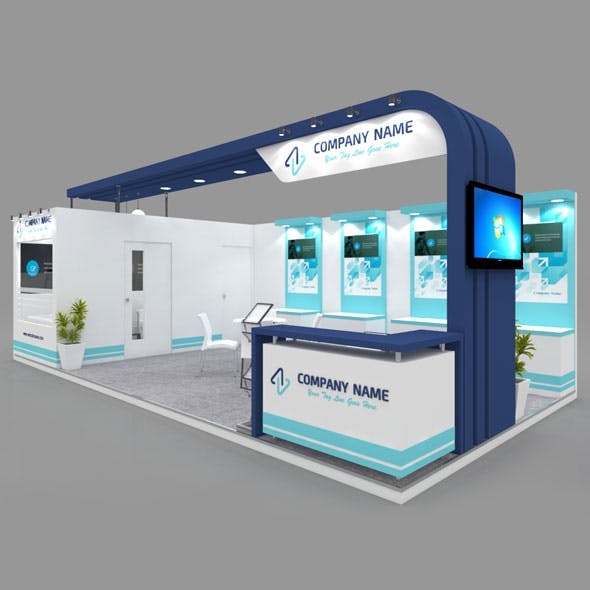 Exhibition Booth 3D Model - 8x4 mtr
